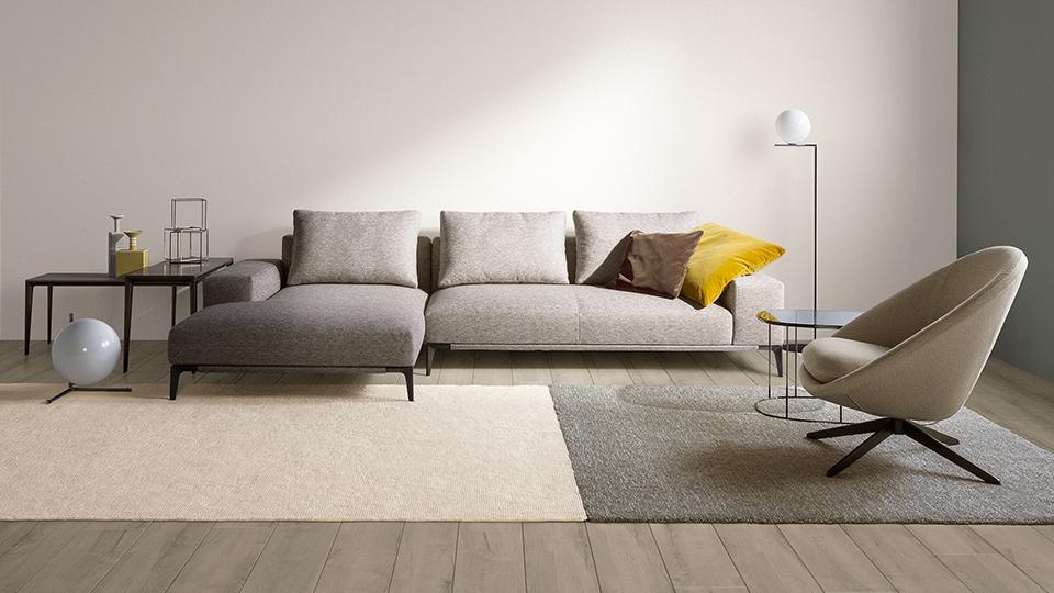 圧迫感のない低めのソファ